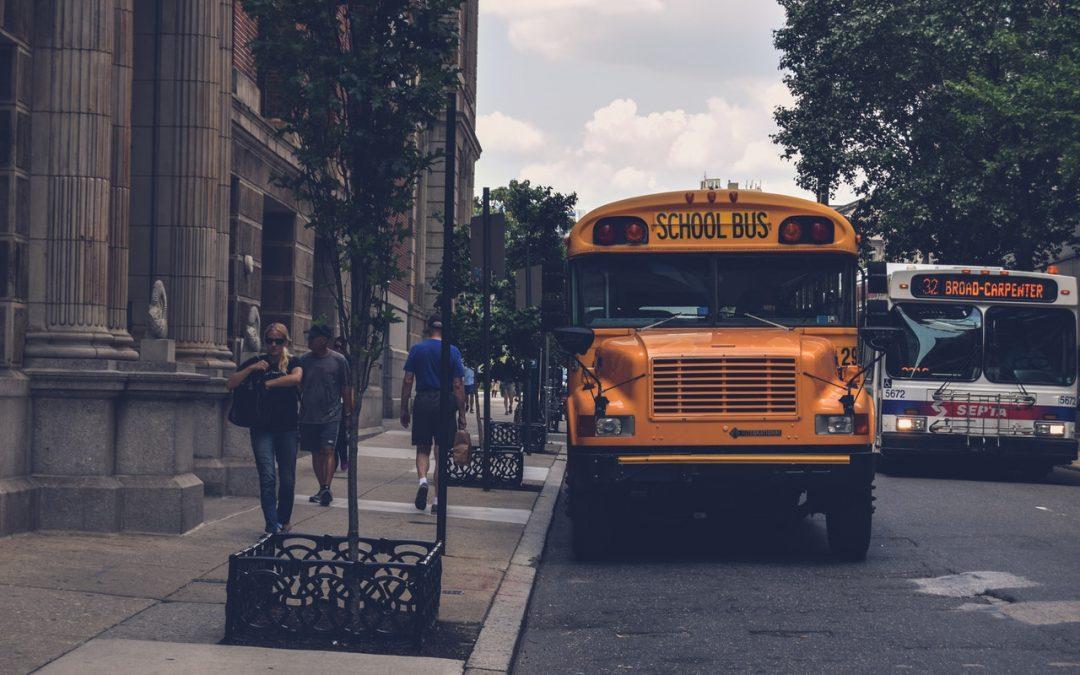 School bus at a school